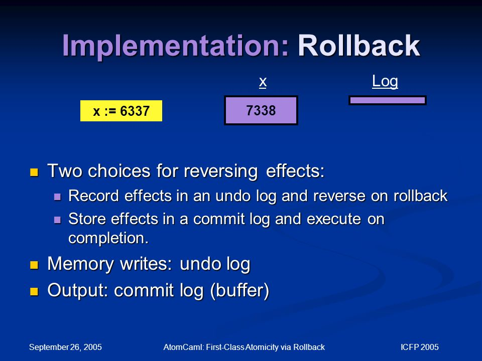 September 26, 2005 AtomCaml: First-Class Atomicity via Rollback ICFP 2005 Implementation: Rollback Two choices for reversing effects: Two choices for reversing effects: Record effects in an undo log and reverse on rollback Record effects in an undo log and reverse on rollback Store effects in a commit log and execute on completion.