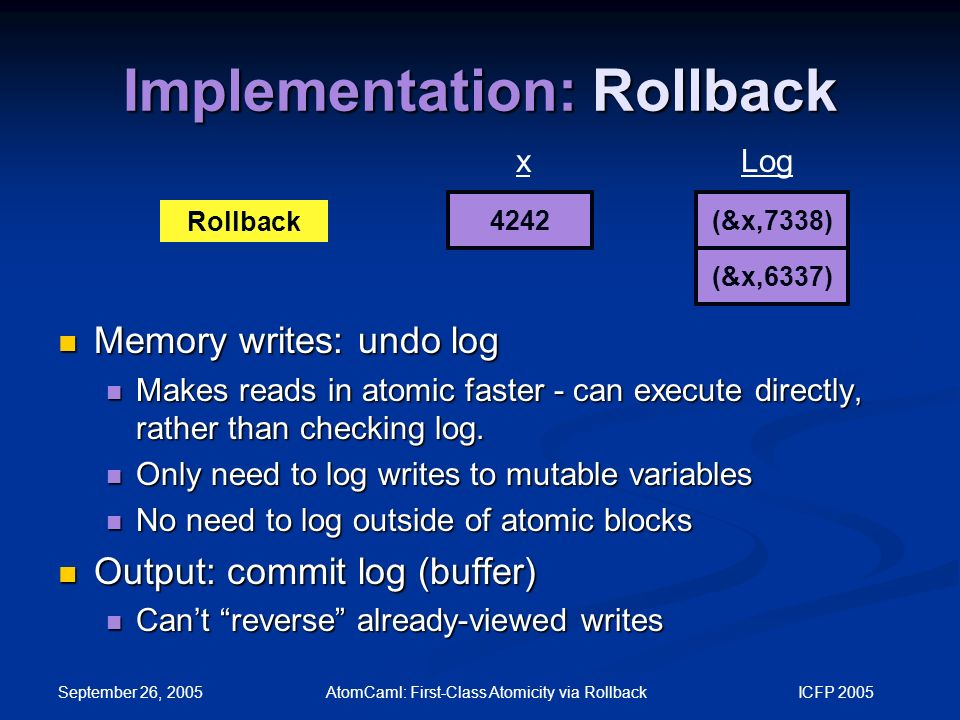 September 26, 2005 AtomCaml: First-Class Atomicity via Rollback ICFP 2005 Implementation: Rollback 4242 xLog Rollback (&x,7338) (&x,6337) Memory writes: undo log Memory writes: undo log Makes reads in atomic faster - can execute directly, rather than checking log.