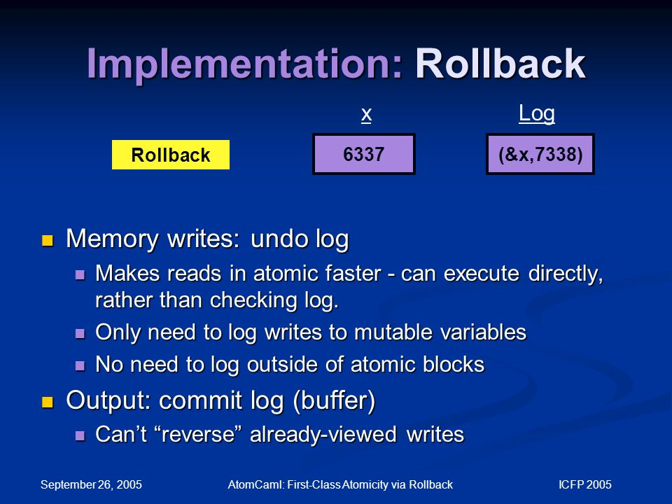 September 26, 2005 AtomCaml: First-Class Atomicity via Rollback ICFP 2005 Implementation: Rollback 6337 xLog Rollback (&x,7338) Memory writes: undo log Memory writes: undo log Makes reads in atomic faster - can execute directly, rather than checking log.