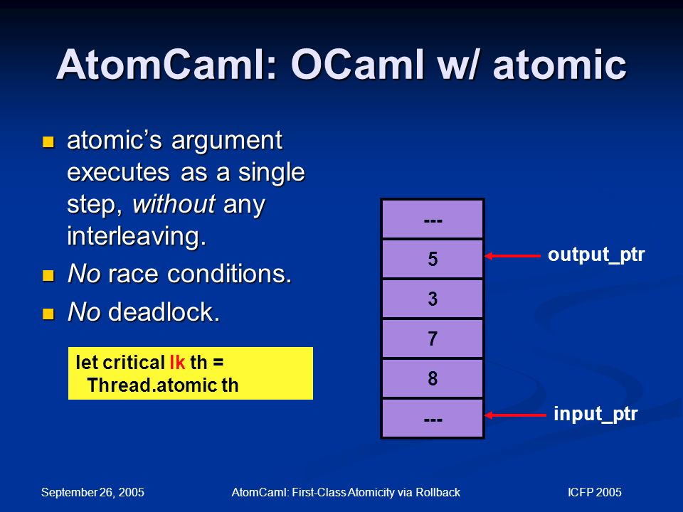 September 26, 2005 AtomCaml: First-Class Atomicity via Rollback ICFP 2005 AtomCaml: OCaml w/ atomic --- 5 3 7 8 output_ptr input_ptr atomic's argument executes as a single step, without any interleaving.