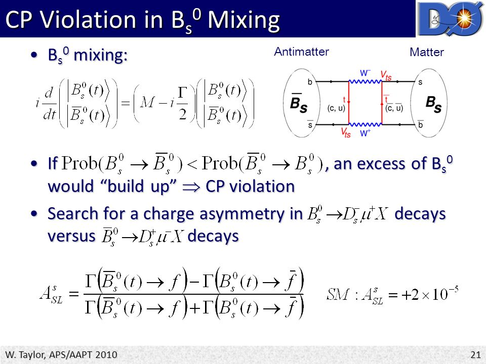 B s 0 mixing:B s 0 mixing: If, an excess of B s 0 would build up  CP violationIf, an excess of B s 0 would build up  CP violation Search for a charge asymmetry in decays versus decaysSearch for a charge asymmetry in decays versus decays CP Violation in B s 0 Mixing W.