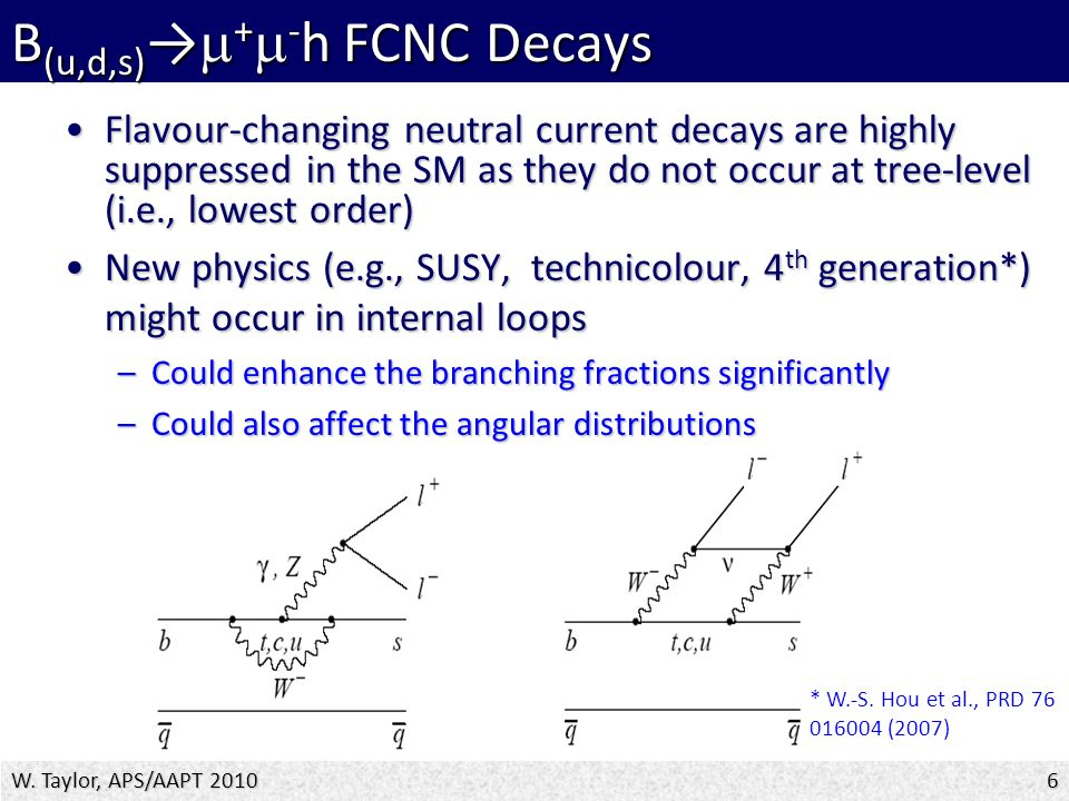 Flavour-changing neutral current decays are highly suppressed in the SM as they do not occur at tree-level (i.e., lowest order)Flavour-changing neutral current decays are highly suppressed in the SM as they do not occur at tree-level (i.e., lowest order) New physics (e.g., SUSY, technicolour, 4 th generation*) might occur in internal loopsNew physics (e.g., SUSY, technicolour, 4 th generation*) might occur in internal loops –Could enhance the branching fractions significantly –Could also affect the angular distributions W.