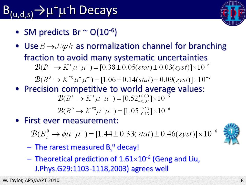 B (u,d,s) →  +  - h Decays SM predicts Br ~ O(10 -6 )SM predicts Br ~ O(10 -6 ) Use as normalization channel for branching fraction to avoid many systematic uncertaintiesUse as normalization channel for branching fraction to avoid many systematic uncertainties Precision competitive to world average values:Precision competitive to world average values: First ever measurement:First ever measurement: –The rarest measured B s 0 decay.