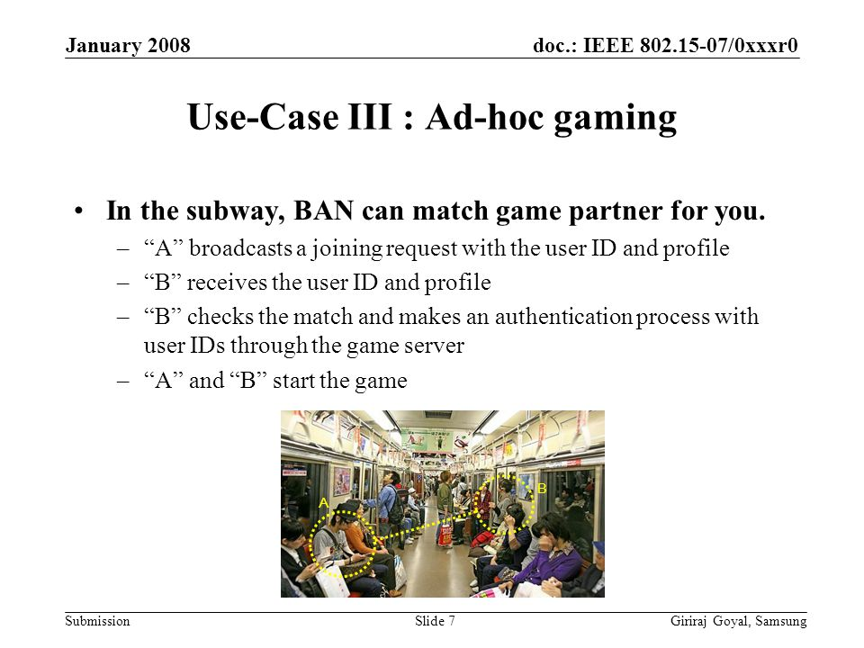 doc.: IEEE /0xxxr0 Submission January 2008 Giriraj Goyal, SamsungSlide 7 Use-Case III : Ad-hoc gaming In the subway, BAN can match game partner for you.