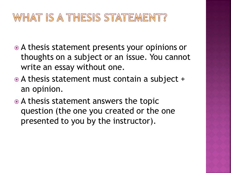 thesis opinion statement