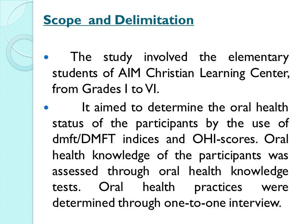 Delimitation of study