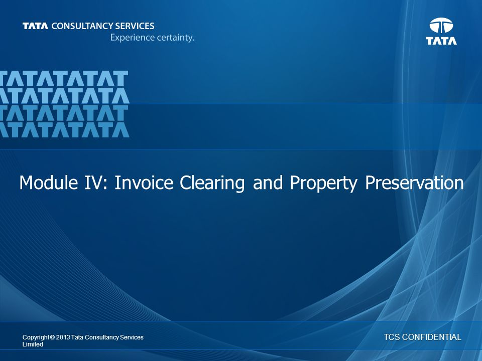 1 IT Services | Business Solutions   Copyright © 2013 Tata Consultancy Services Limited TCS CONFIDENTIAL Module IV: Invoice Clearing and Property Preservation