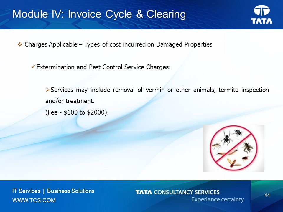 44 IT Services | Business Solutions   Module IV: Invoice Cycle & Clearing  Charges Applicable – Types of cost incurred on Damaged Properties Extermination and Pest Control Service Charges:  Services may include removal of vermin or other animals, termite inspection and/or treatment.
