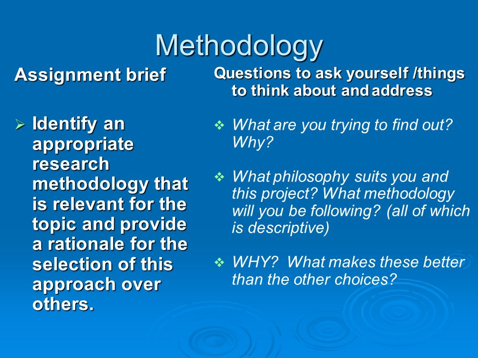 writing methodology in research