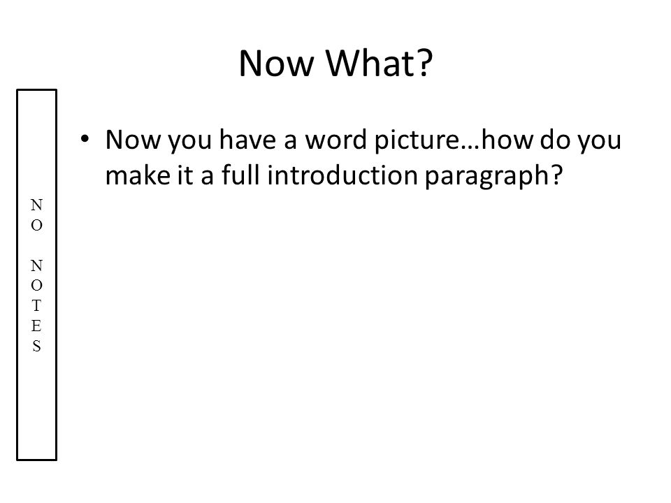 Now What. Now you have a word picture…how do you make it a full introduction paragraph.