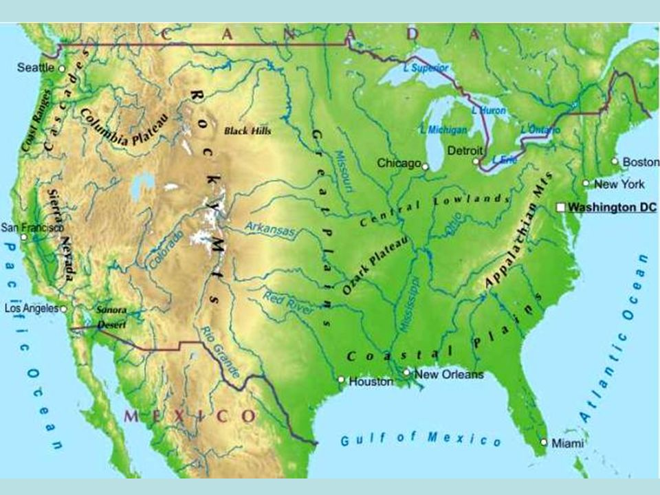 Ch Physical Geography Of US And Canada Objective Identify - Appalachian and rockies on us map
