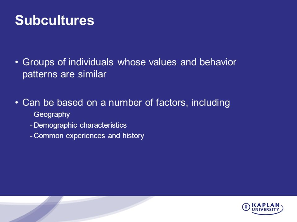 Subcultures Groups of individuals whose values and behavior patterns are similar Can be based on a number of factors, including -Geography -Demographi