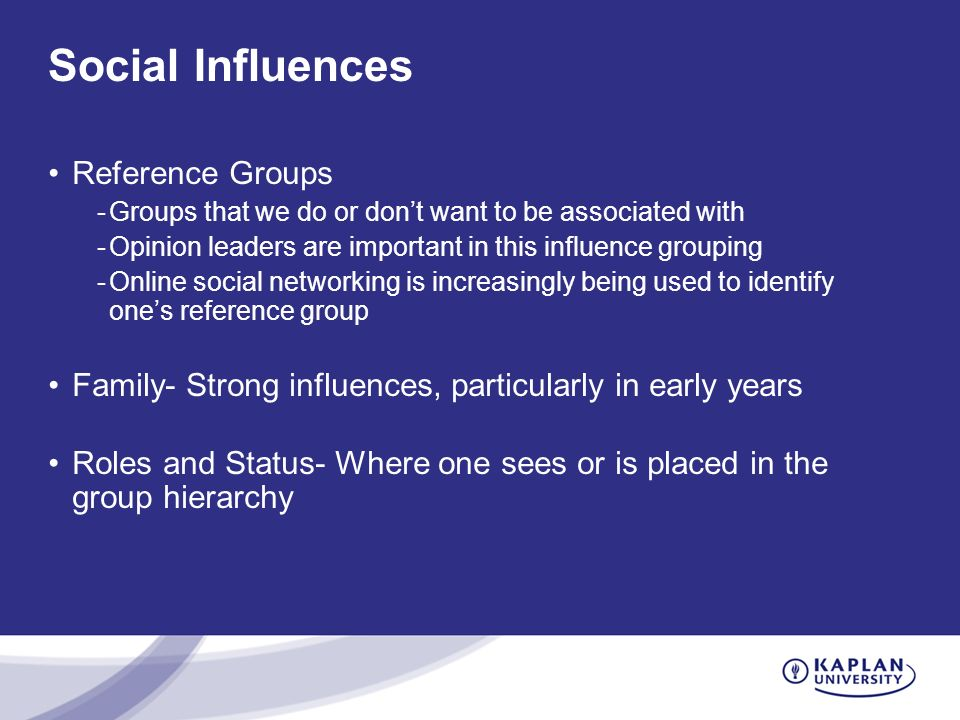 Social Influences Reference Groups -Groups that we do or don't want to be associated with -Opinion leaders are important in this influence grouping -O