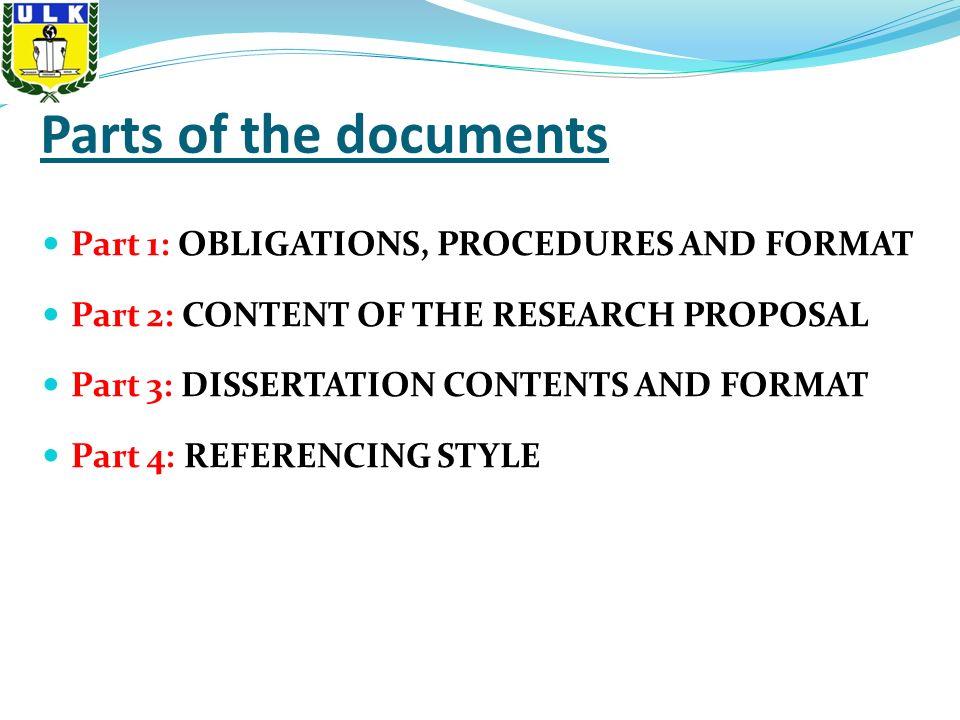 Dissertation parts content