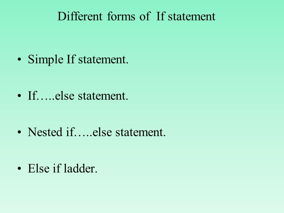 Ladder and nested if