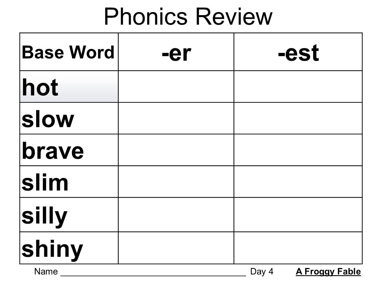 worksheet Er Est Worksheets phonics review base word er est hot slow brave slim silly shiny 1 name