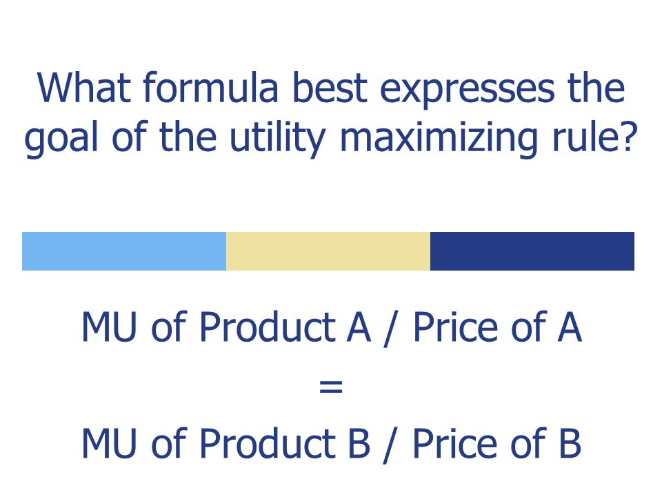 If we say the consumer should allocate income so that the last dollar spent on each product yields the same MU, we are citing the ___.