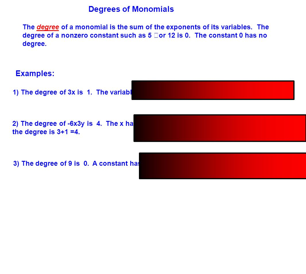 worksheet Degree Of A Monomial table of contents definitions monomials polynomials and 6 degrees
