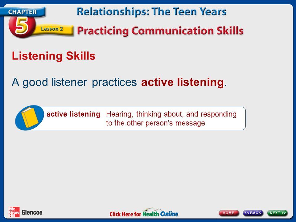 Listening Skills A good listener practices active listening.
