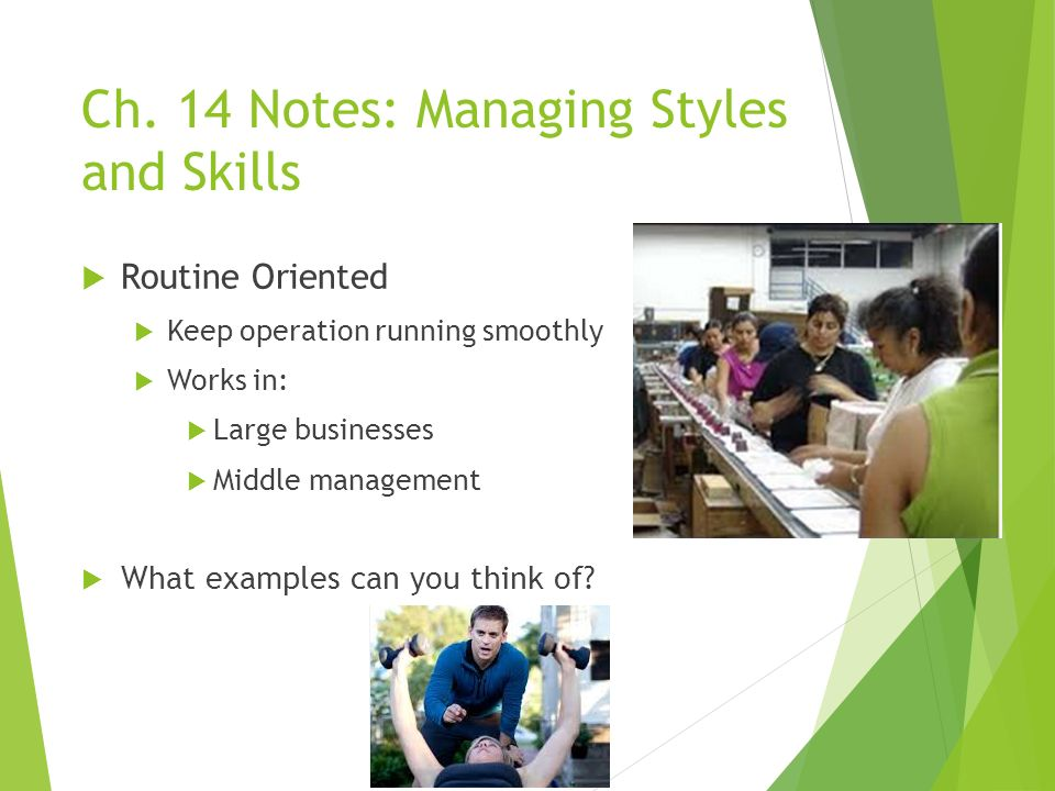 Ch. 14 Notes: Managing Styles and Skills  Routine Oriented  Keep operation running smoothly  Works in:  Large businesses  Middle management  Wha