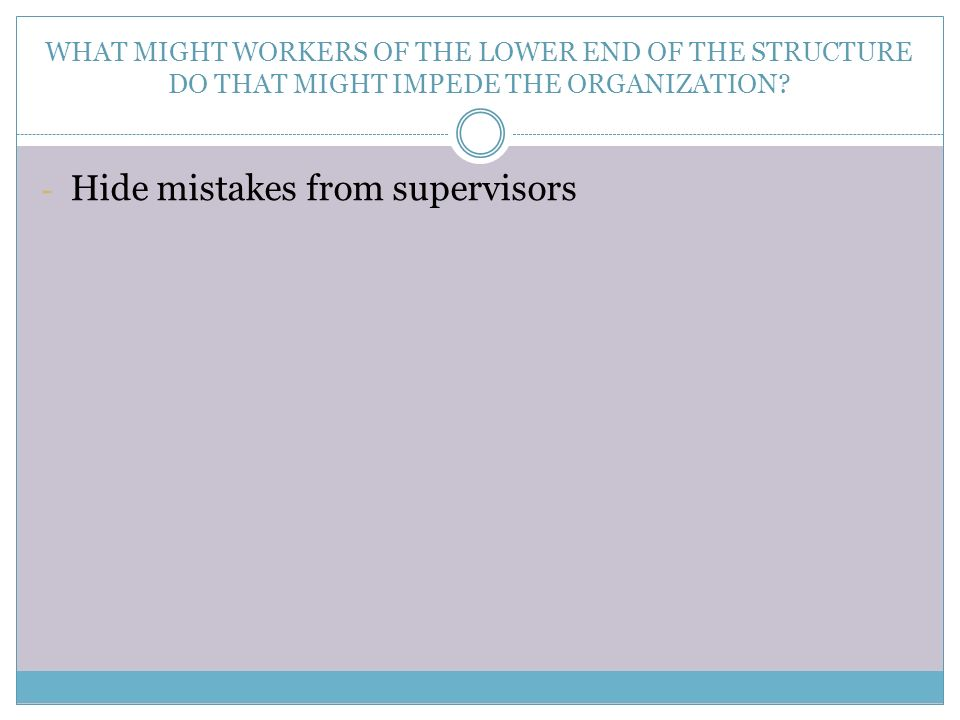 WHAT MIGHT WORKERS OF THE LOWER END OF THE STRUCTURE DO THAT MIGHT IMPEDE THE ORGANIZATION? - Hide mistakes from supervisors