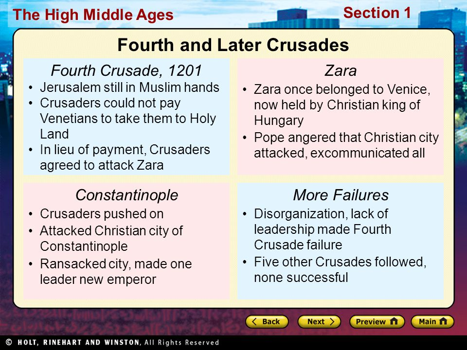 Section 1 The High Middle Ages Fourth Crusade, 1201 Jerusalem still in Muslim hands Crusaders could not pay Venetians to take them to Holy Land In lieu of payment, Crusaders agreed to attack Zara Constantinople Crusaders pushed on Attacked Christian city of Constantinople Ransacked city, made one leader new emperor Zara Zara once belonged to Venice, now held by Christian king of Hungary Pope angered that Christian city attacked, excommunicated all More Failures Disorganization, lack of leadership made Fourth Crusade failure Five other Crusades followed, none successful Fourth and Later Crusades