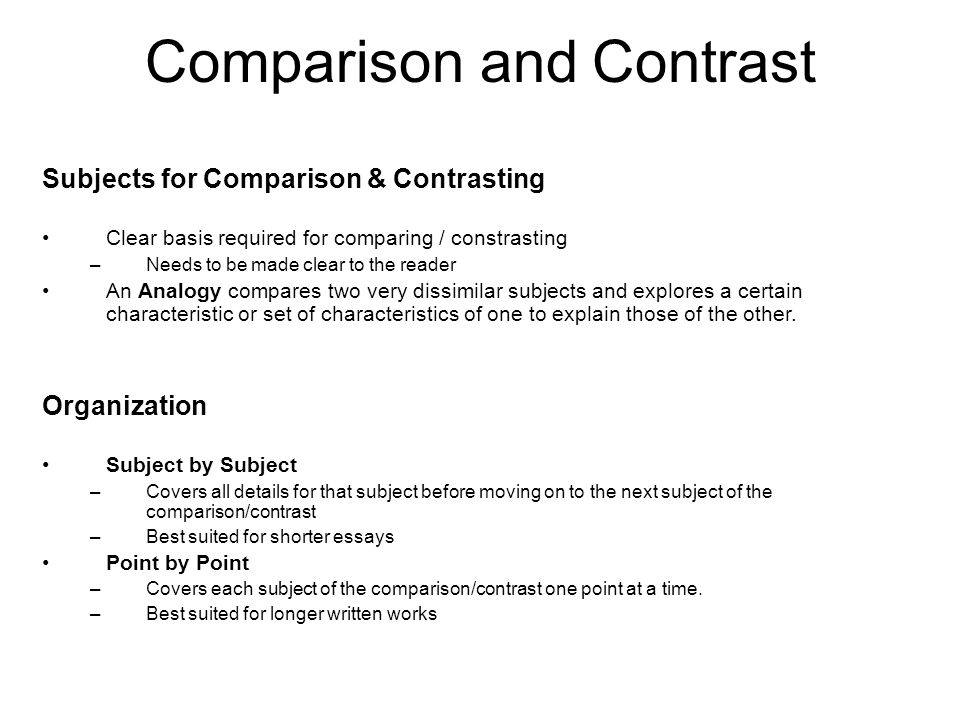 comparison and contrast essay subjects Take the following comparison and contrast essay topics – all generated from an interesting discussion between high school friends in connecticut.