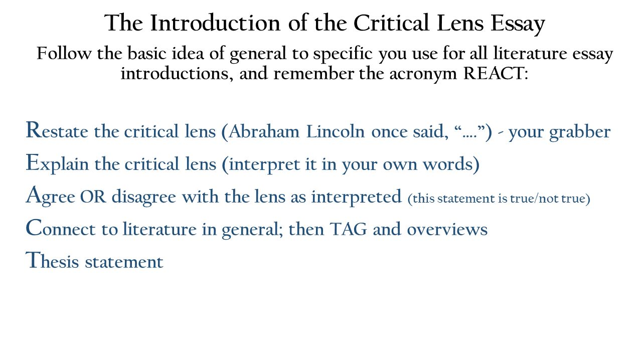 steps for writing a critical lens essay