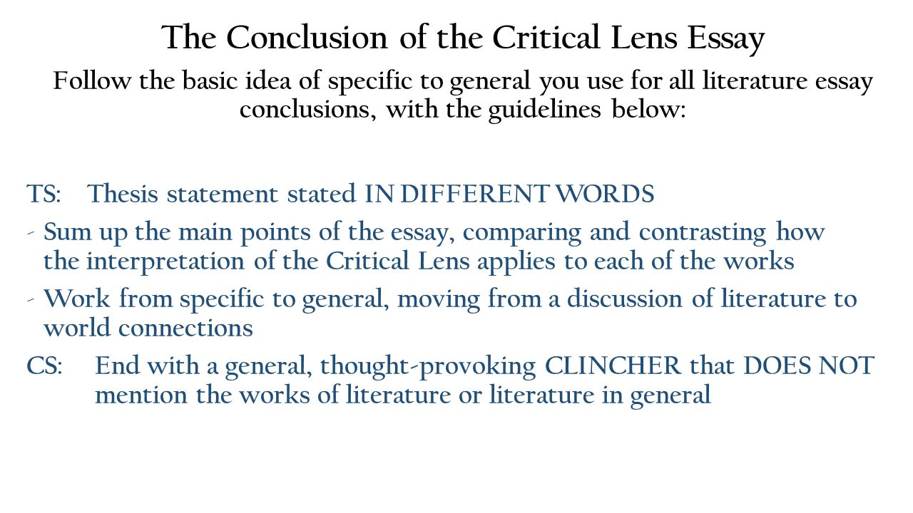 critical lens essay conclusion outline Critical lens essay how-to writing a critical lens essay: critical lens essay outline what order your examples and texts will go in.
