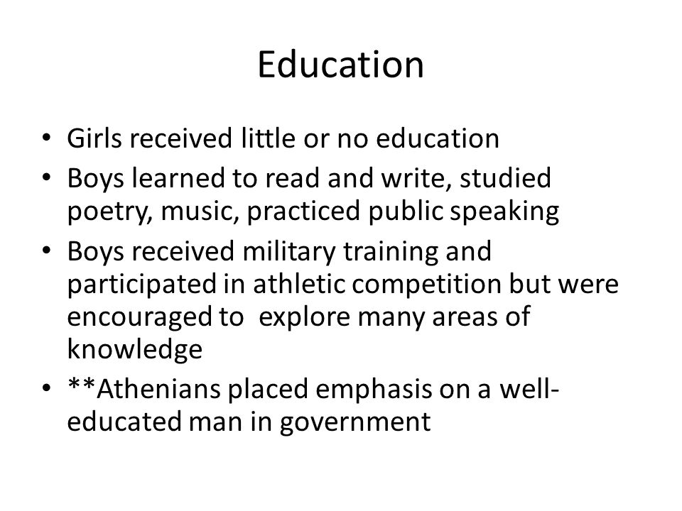 whi sol c sparta life in athens men participated in government  3 education