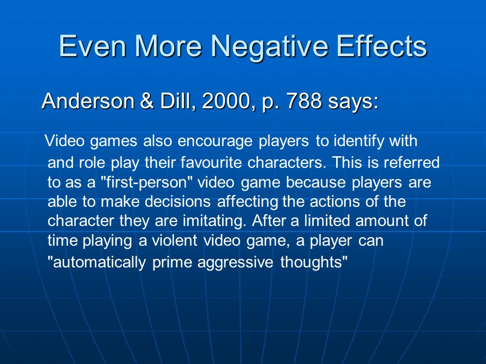 thesis statement for negative effects of video games