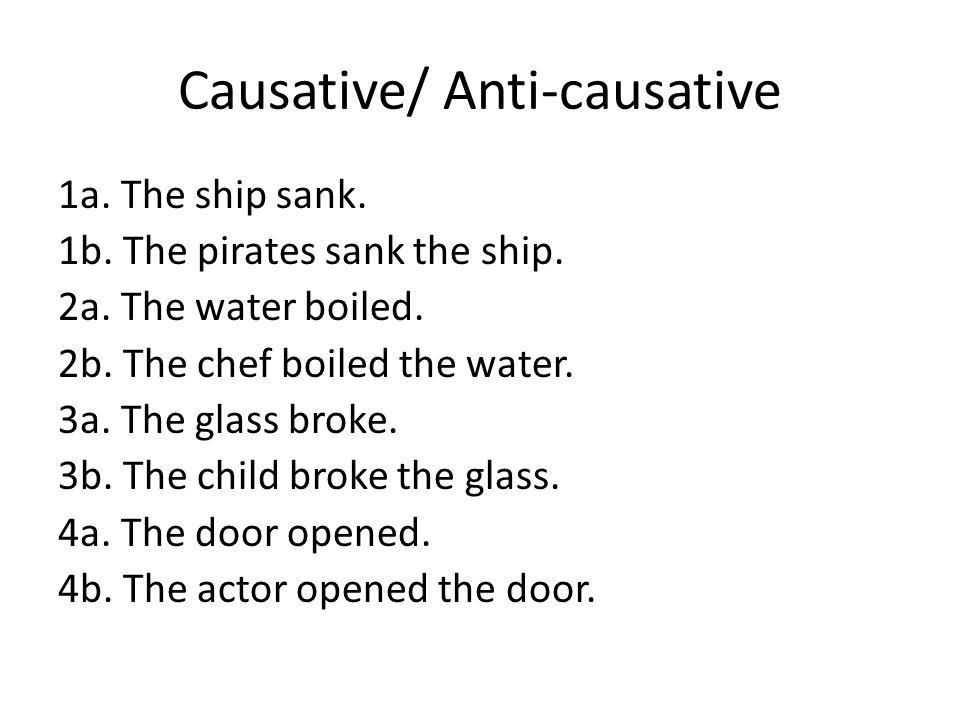 Causative/ Anti-causative 1a. The ship sank. 1b.