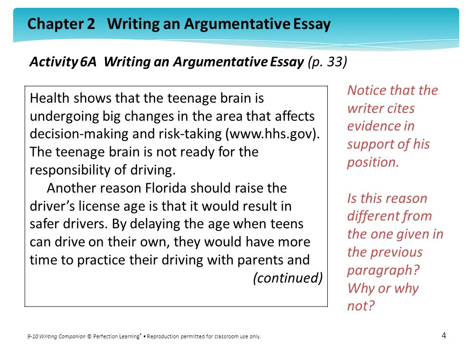 chapter writing an argumentative essay writing companion  chapter 2 writing an argumentative essay 9 10 writing companion © perfection learning ® reproduction