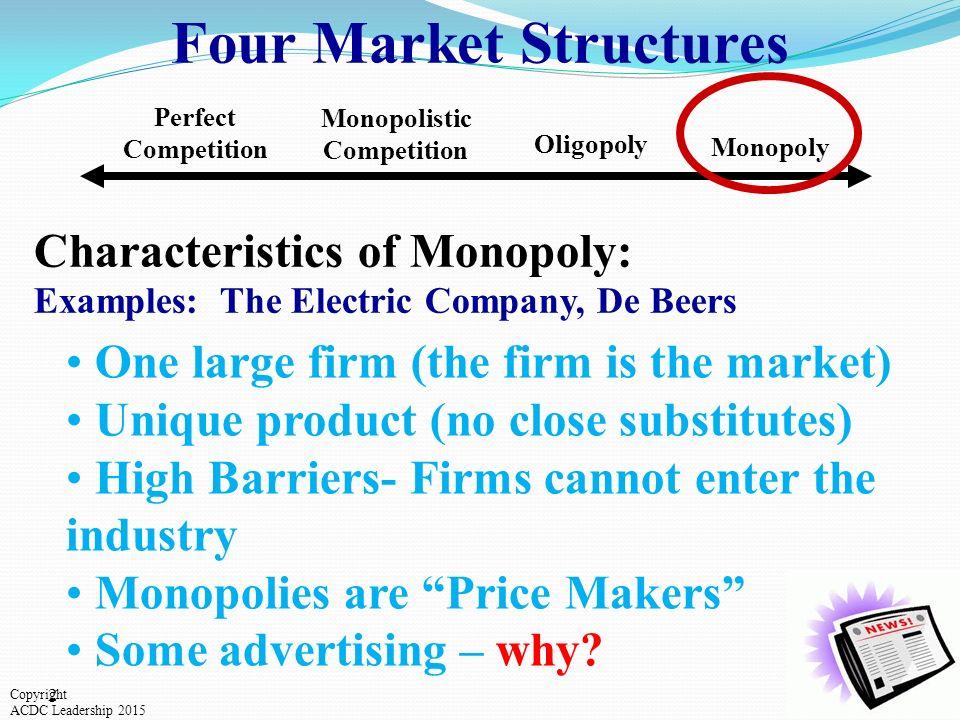 characteristics of market monopoly