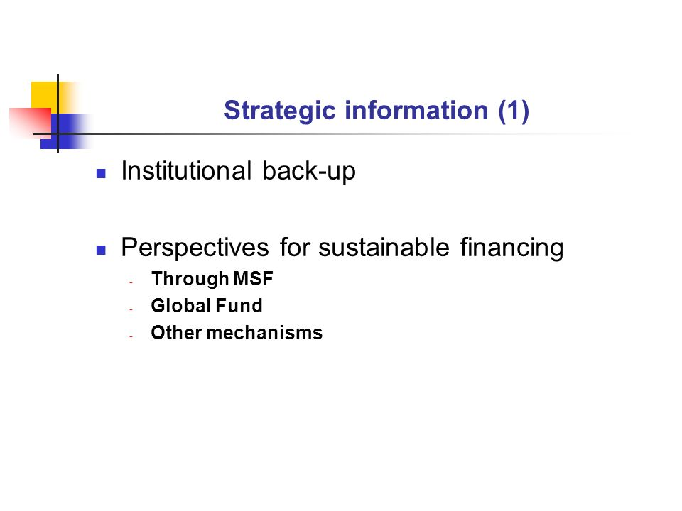 Strategic information (1) Institutional back-up Perspectives for sustainable financing - Through MSF - Global Fund - Other mechanisms