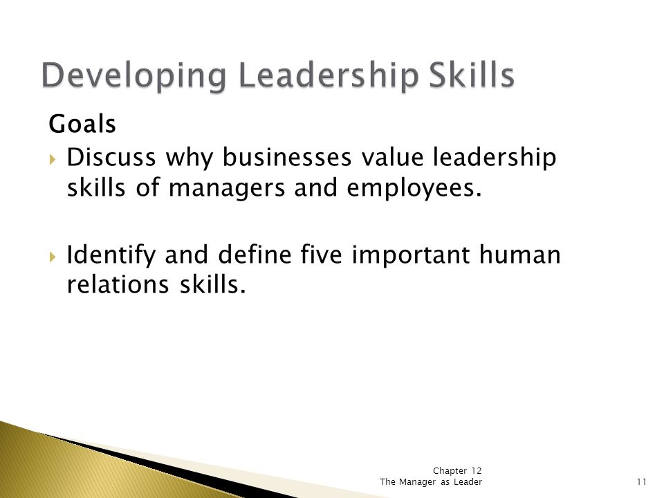 Chapter 12 The Manager as Leader11 Goals  Discuss why businesses value leadership skills of managers and employees.