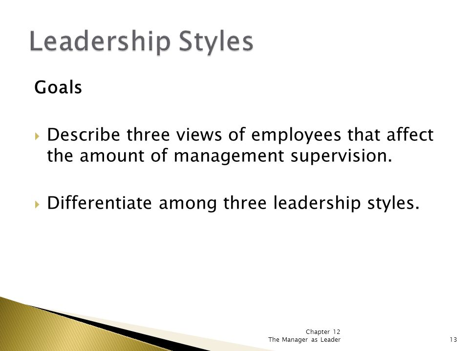Chapter 12 The Manager as Leader13 Goals  Describe three views of employees that affect the amount of management supervision.