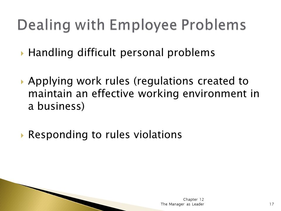 Chapter 12 The Manager as Leader17  Handling difficult personal problems  Applying work rules (regulations created to maintain an effective working environment in a business)  Responding to rules violations