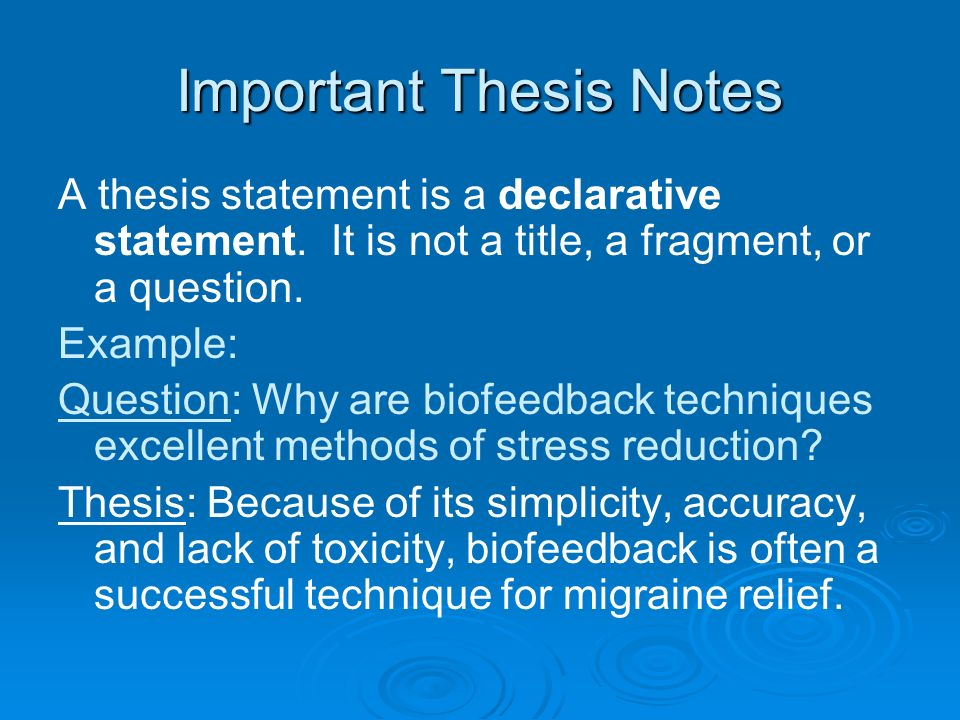 components of a clear and concise thesis statement A thesis statement is the single, specific claim that your essay supports a strong thesis answers the question you want to raise it does so by presenting a topic, the position you wish to defend, and a reasoning blueprint that sketches out your defense of your chosen position.