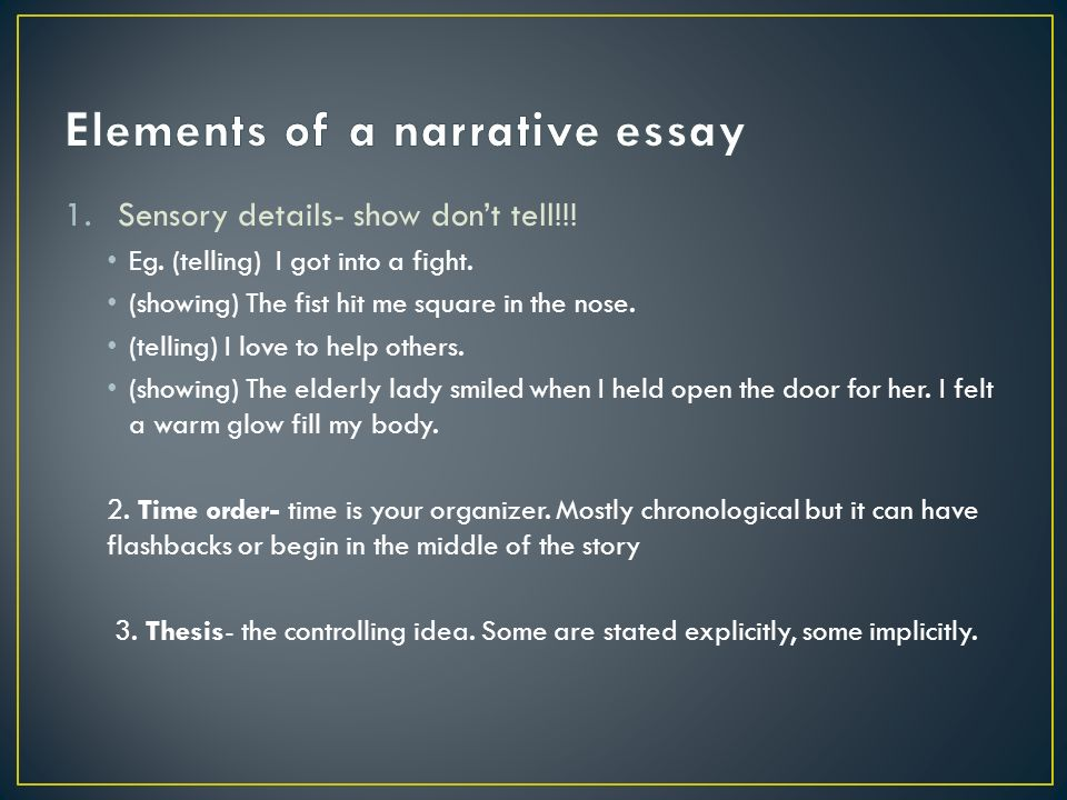 elements of narrative essay Elements of a narrative essay - elements of a narrative essay mrs blosch narrative essay narrative offers us the opportunity to think and write about ourselves, to explain how our experiences lead narrative essay outline example - here present a proper example of an outline for a narrative essay.
