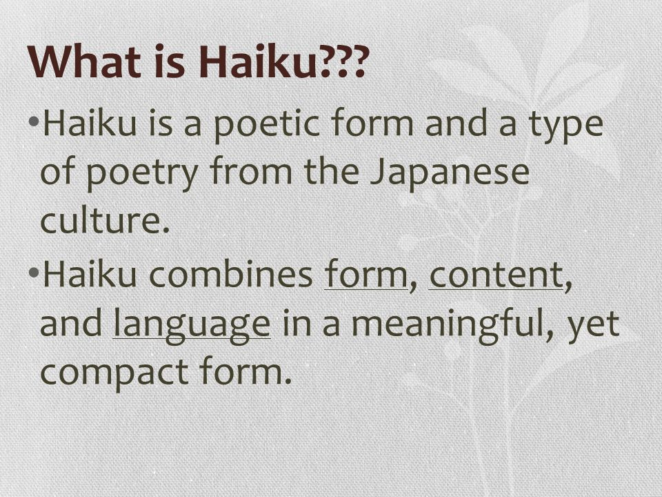 What is another cultural type of poetry besides the haiku?