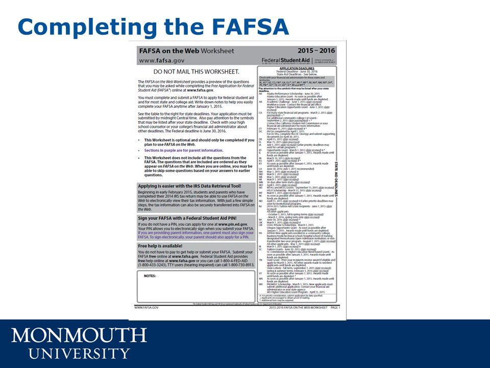 FINANCIAL AID 101 Kristen Isaksen Associate Director of Financial – Fafsa Worksheet
