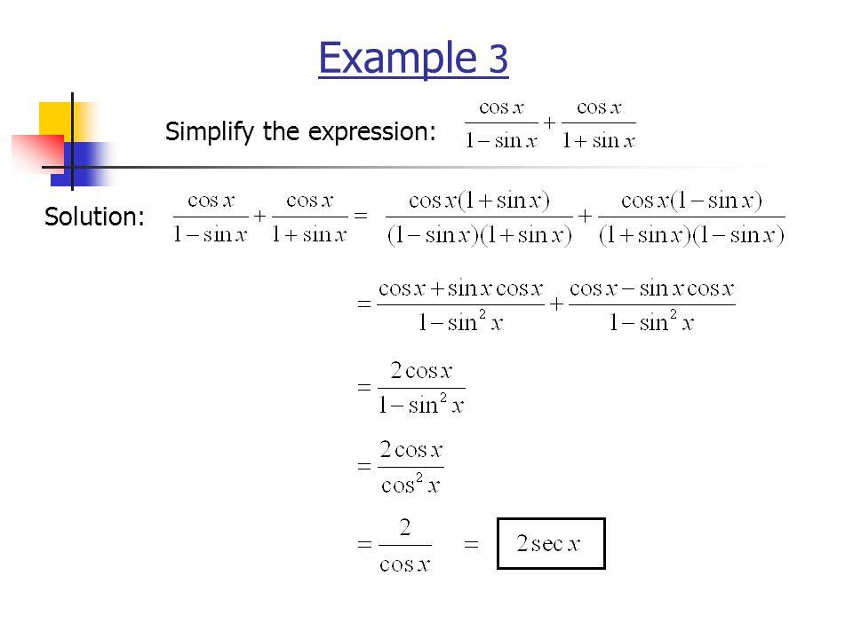Simplifying Trigonometric Expressions Worksheet - Sharebrowse