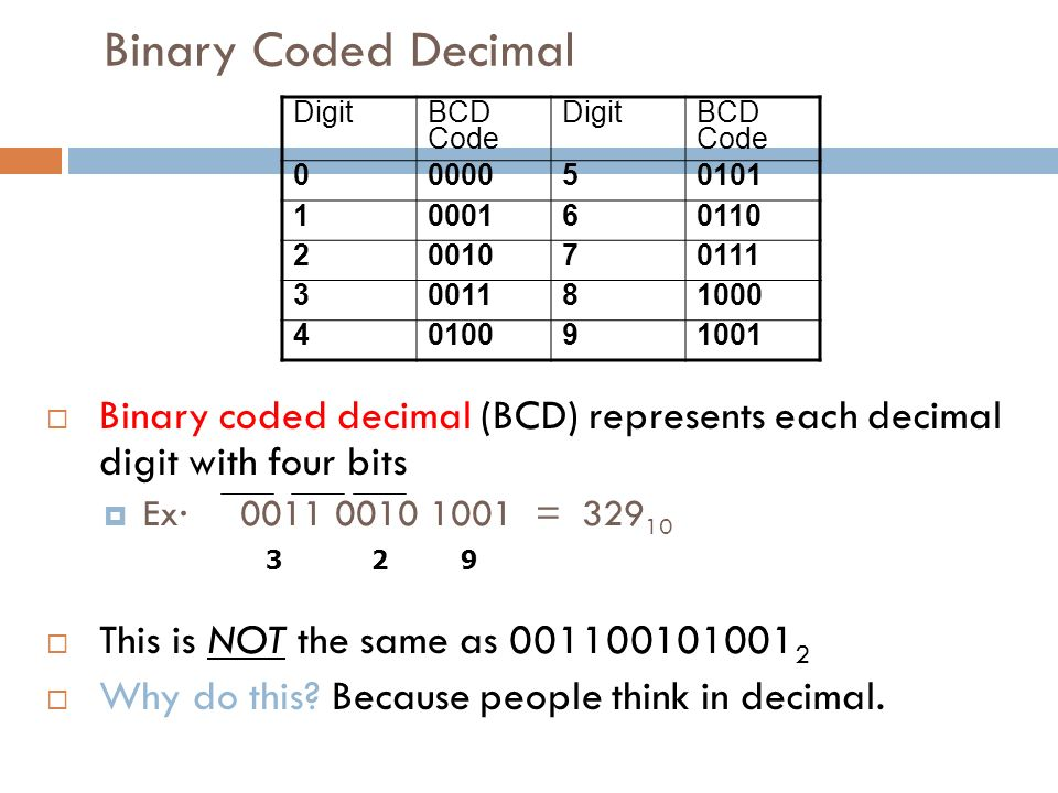 Binary Coded Decimal  Binary coded decimal (BCD) represents each decimal digit with four bits  Ex· 0011 0010 1001 = 329 10  This is NOT the same as 001100101001 2  Why do this.
