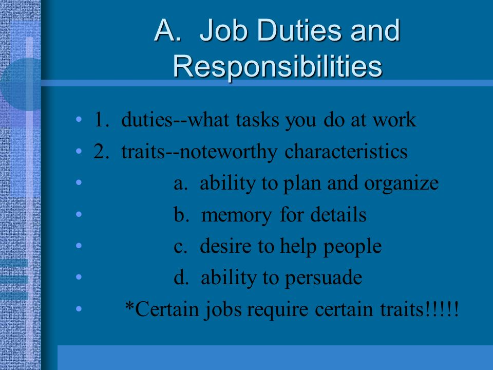 duties and responsibilities 2 essay Housekeeping duties and responsibilities descriptive essay - roman religion primary homework help 12 nis housekeeping duties and responsibilities descriptive essay.