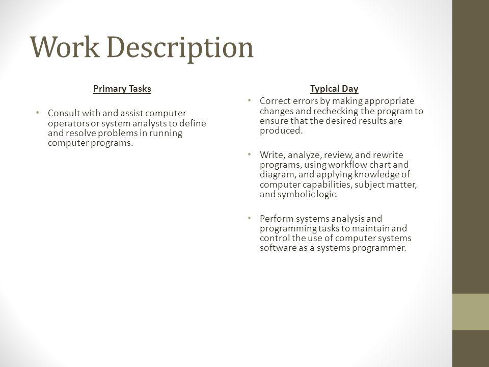 Job Description For Computer Programmer