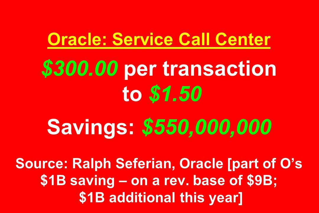 Oracle: Service Call Center $ per transaction to $1.50 Savings: $550,000,000 Source: Ralph Seferian, Oracle [part of O's $1B saving – on a rev.