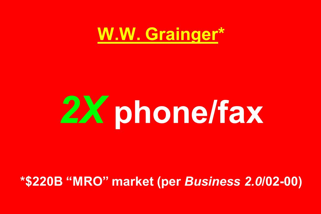 W.W. Grainger* 2X phone/fax *$220B MRO market (per Business 2.0/02-00)