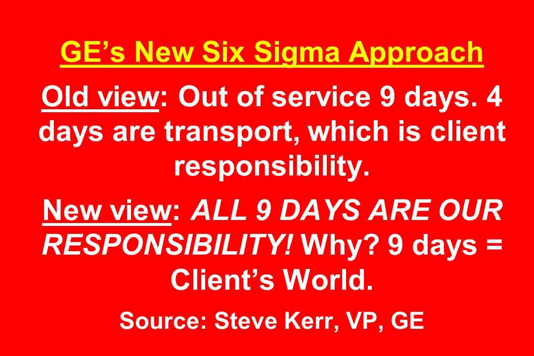 GE's New Six Sigma Approach Old view: Out of service 9 days.