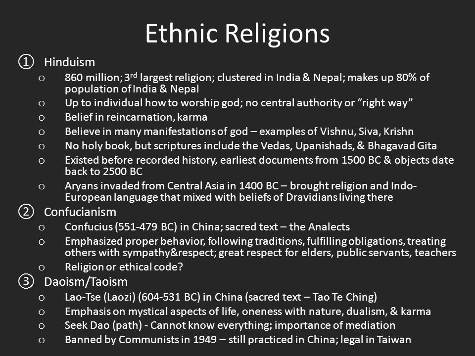 Ethnic Religions ①Hinduism O Million Rd Largest Religion - 3 largest religions